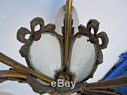 Tulip Glass Chandelier J. Robert Era Art Deco Chandelier