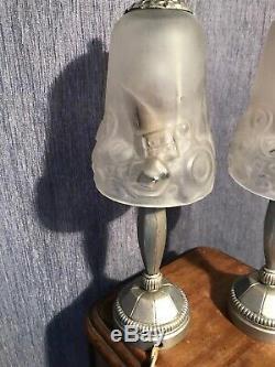 Two Lights Art Deco Bronze Signed Loti Nancy Argente. Muller Degue Daum