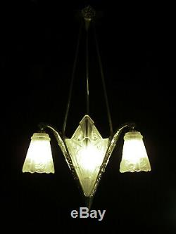 Vandamme L. Luster Art Deco 4 Fires Bronze And Glass Pressed J. Gauthier