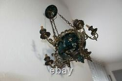 Very Old Chandelier Suspension In Bronze With 6 Arms. Porcelain Hand-painted