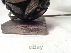 Very Rare! Edgar Brandt Bronze Mistletoe Ball Lamp