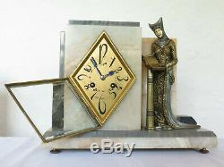 Very Rare! Marble Bronze Clock Set Clock Chryselephantine Signed Art Deco