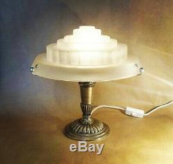Vintage Art Deco Modernist Skyscraper Lamp, Nickel-plated Bronze And Glass Shade