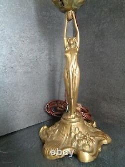 Woman Art Nouveau / Art Deco Lamp Statue Bronze Glass Paste Schneider