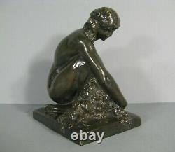 Woman Naked Old Bronze Sculpture Art Deco Lost Wax Signed Marcel Bouraine