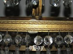 08e24 Ancien Lustre Couronne En Bronze Dore Et 4 Étages De Pampilles Années 1950