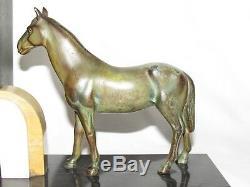 10e30 Paire Serre Livres Chevaux De Course Régule Patine Bronze Art Déco 1930
