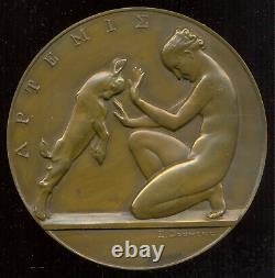 114 mm! French ART DECO medal, ARTEMIS par E. Doumeng s. D. (1937)