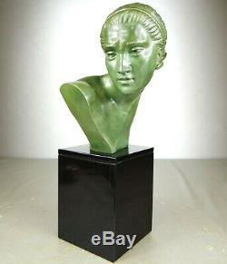 1920/1930 Marcel Bouraine Rare Statue Sculpture Buste Ep. Art Deco Bronze Femme