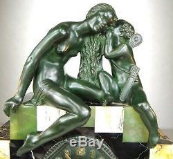 1920/1930 Suprb Pendule Garniture Lampes Sculpture Art Deco Bronze Venus Cupidon