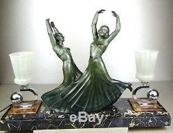 1920/30 G Daverny Chiparus Lampe Statue Art Deco Bronze Dolly Sisters Danseuses