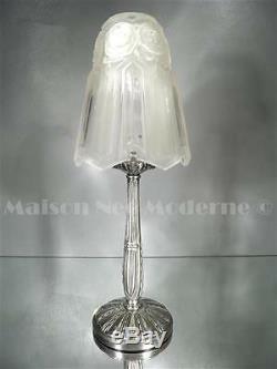 1925 P. Maynadier Lampe Bronze Argenté Verre Pressé-moulé Patiné Rose Art Déco