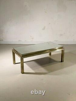 1970 MAISON JANSEN TABLE BASSE ART-DECO BRONZE NEO-CLASSIQUE SHABBY-CHIC Adnet