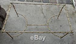 1970' Table Basse en Bronze Avec Entretoise Maison Bagués Decor Bambou