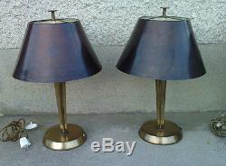 2 lampes design art deco bronze abat-jour genet michon lamp Hans Bergström