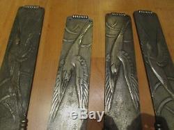 2 paires de plaques de propreté epoque art deco 1930 en bronze argenté oiseaux