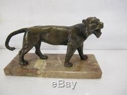 ANCIEN TIGRE EN BRONZE statue animalière félin années 30 tiger