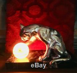 ART DECO. SUPERBE Veilleuse chat du sculpteur BOURCART 1930