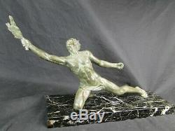 Alexandre OULINE rare Bronze La Victoire Art Déco sur sa base marbre