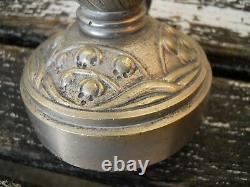 Ancien pied de lampe 1900-30 en bronze chromé décor muguet, Muller, Daum