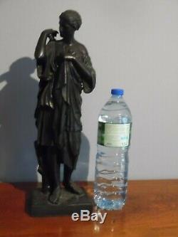 Ancienne Grande Sculpture Régule Patine Bronze Signée E. DUBOIS Statue Art Déco