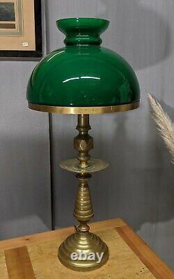 Ancienne Lampe de bureau opaline verte pied bronze art déco