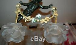 Antiquite Rare Lustre Ange En Bronze, Antiquite Rare Bronze Angel Chandelier