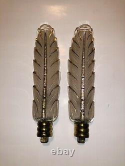Appliques Ancienne Art Deco Bronze Et Verre Ezan Signée Petitot Vintage Lampe