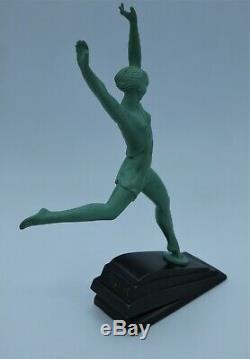 Art Deco Pierre Le Faguays 1930's Statue Fayral Olympia Bronze à Patine Verte