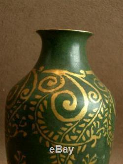 Beau Vase Dinanderie Art Deco Bronze Patine Verte Et Doré Signé Christofle