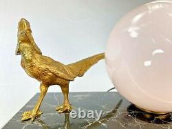 Belle Lampe Art Deco Ancienne Faisan Bronze Dore Base Marbre Veilleuse