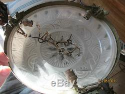 Belle Vasque En Verre Moule Art Deco Signed Muller Freres Avec Monture Bronze