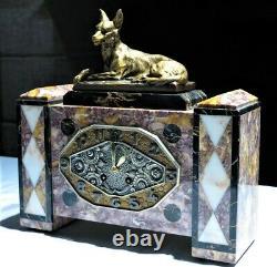 Belle garniture de cheminée Art Deco marbre bronze pendule set clock