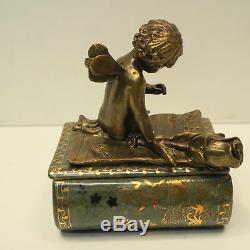 Boite Bijoux Tabac Ange Bebe Style Art Deco Style Art Nouveau Porcelaine Bronze