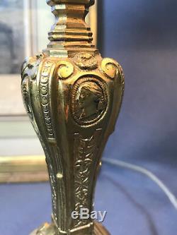 Bougeoir 19 Eme En Bronze Avec Têtes De Personnages Monté En Lampe De 27 CM /h