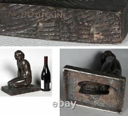 Bronze Art Déco, Marcel BOURAINE 1886/1948, Nue assis vers 1920