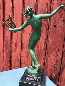 Bronze Art Deco Signe Fayral 1930 Femme Nue A La Harpe