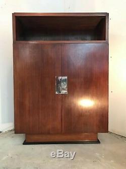 Cabinet 1930 Art Déco Palissandre Et Bronze Chromé