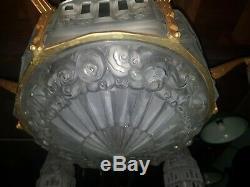 Chandelier Lustre en bronze Art Deco pate de verre j. Robert des hanots ejg degue