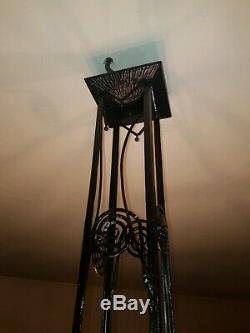 Chandelier Lustre en fer forgé Art Deco muller freres luneville, schneider degué