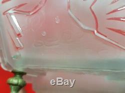 Chandelier Lustre epoque Art Deco en verre moule bronze muller freres luneville