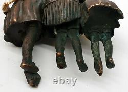 Chiparus Chryséléphantine Groupe Bronze Signé Enfants & Mère regardant tortue