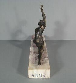 Danseuse Années Folles Ancienne Sculpture Art Déco Bronze Argenté Signé Morante