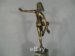 Danseuse Orientale De Style Art Déco Sculpture En Bronze Et Marbre