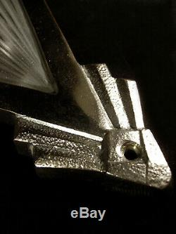 Degué Paire Dappliques Art Déco Bronze Nickelé & Sabots En Verre Pressé 1930