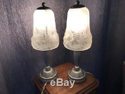 Deux Lampes Art Deco Signees Loti Nancy En Bronze Argente. Muller Degue Daum
