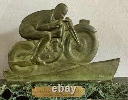 Edouard FRAISSE Bronze art deco motard signé patine verte Trophé