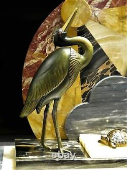 Extraordinaire statue Art Déco marbre bronze régule hérons tortue