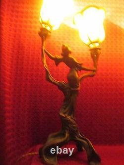 French Lamp Lampe Sculpture Art Nouveau Jugendstil Flambeaux Deco 1900/no Bronze