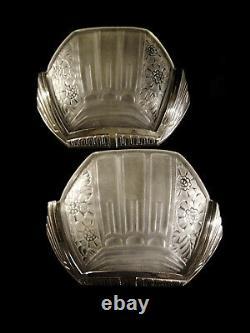 G. Viarmé Paire Dappliques Art Déco En Bronze Chromé Et Verre Pressé 1930